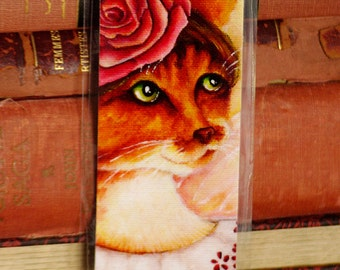 Rose Cat Bookmark, Flower Fairy Cat Art Bookmark