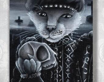 Hamlet Cat Holding Yorick Skull Shakespeare Literary Cats 8x10 Fine Art Print