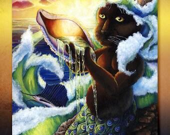 Cat Mermaid, Ace of Cups, Ocean Water Goddess, Yemaya, Fantasy 8x10 Fine Art Print