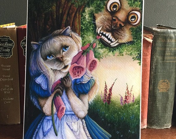 Alice and Cheshire Dog 8x10 Fine Art Print