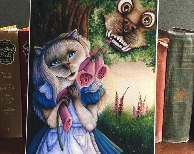 Alice and Cheshire Dog 8x10 Fine Art Print