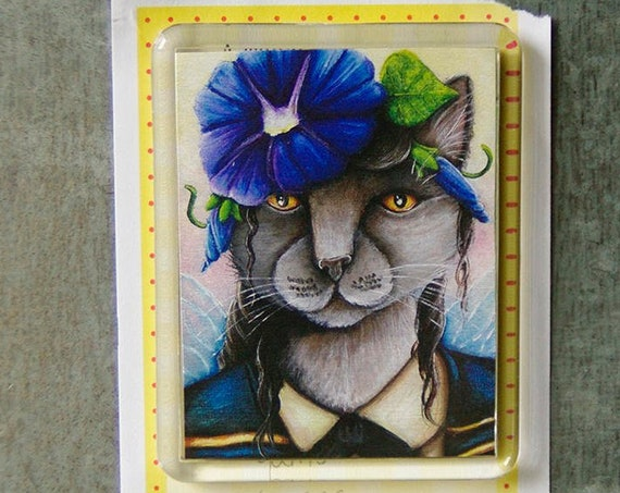 Morning Glory Fairy Russian Blue Cat Fridge Magnet