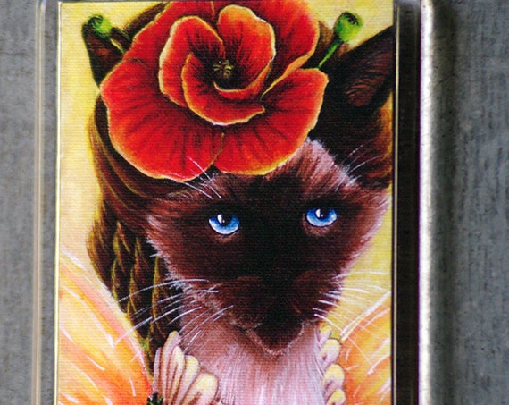 Poppy Fairy Siamese Cat Magnet