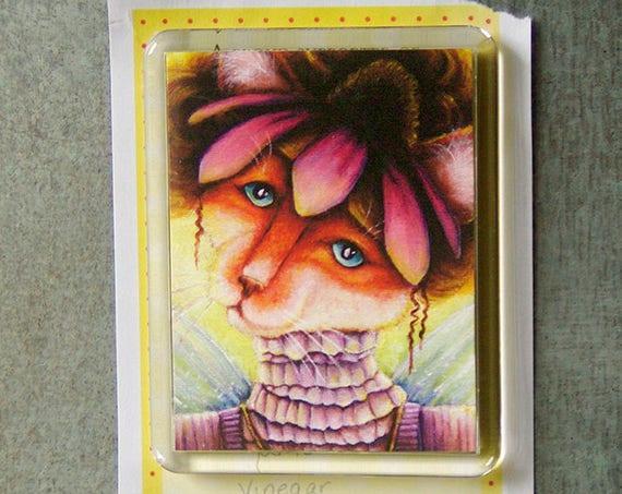 Coneflower Cat Magnet, Victorian Flower Fairy, Ginger Cat Art Fridge Magnet