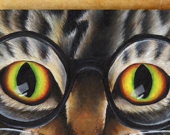 Tabby Cat Wearing Glasses 8x10 Fantasy Fine Art Print
