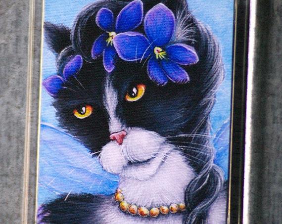 Tuxedo Cat Violet Fairy Magnet