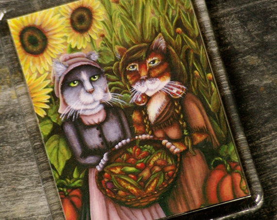 Thanksgiving Cat Magnet, Colonial American Harvest Holiday Cat Art Fridge Magnet