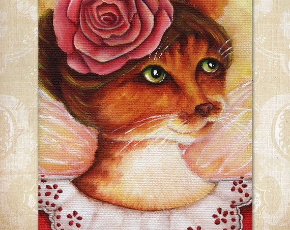 Rose Flower Fairy Cat 5x7 Fine Art Print