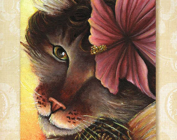 Hibiscus Fairy Maine Coon Cat 5x7 Fine Art Print