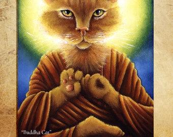 Buddha Cat Ginger Tabby Meditating 11x14 Fine Art Reproduction Print