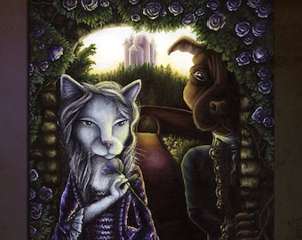 Beauty and the Beast, Cat Dog Fairy-tale Fine Art Print