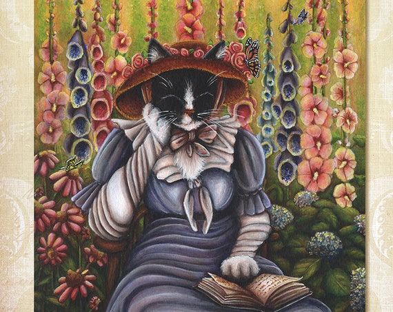 Cottage Garden Cat 8x10 Fine Art Print