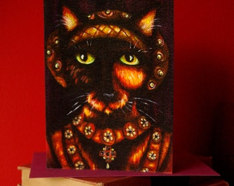 Anne of Cleves Tortoiseshell Cat Greeting Card