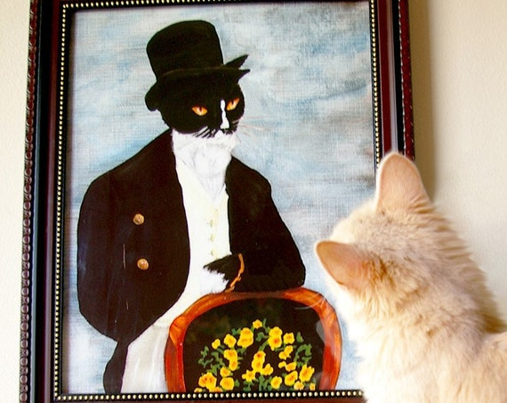 Tuxedo Cat Art, Mr Darcy Cat Gentleman in Top Hat 8x10 Art Print