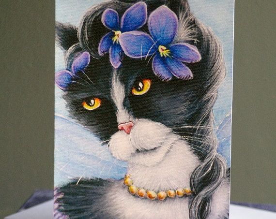Violet Fairy Cat Greeting Card