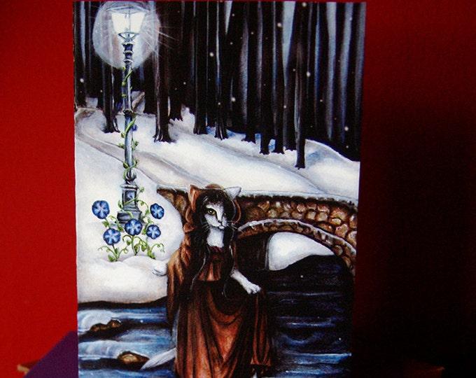 Five of Pentacles Tarot Art Greeting Card