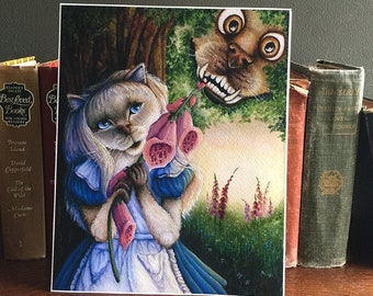 Alice in Wonderland, Cat and Cheshire Dog Art Archival Reproduction Print