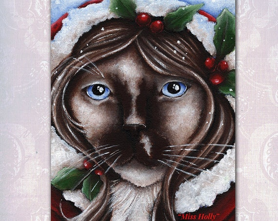 Holly Christmas Cat 5x7 Fine Art Print
