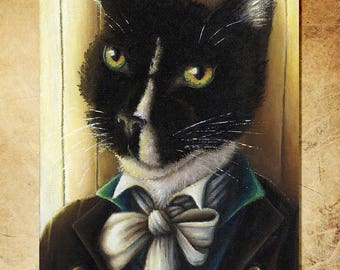Mr Darcy Tuxedo Cat Art, Pride and Prejudice 8x10 Art Print