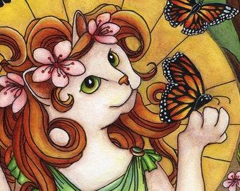 White Cat, Monarch Butterfly, Art Nouveau 11x14 Fine Art Reproduction Print