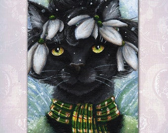 Snowdrop Fairy Black Cat Fantasy Art 5x7 Fine Art Reproduction Print