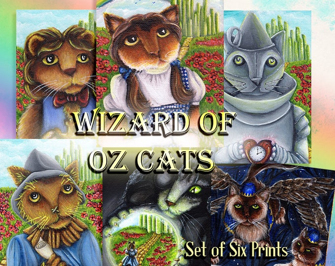 Wizard of Oz Cat Collection Six Prints