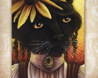 Black Cat Fairy, Black Eyed Susan Flower Fantasy Art 8x10 Reproduction Print