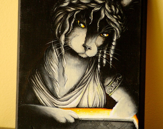 Pandora Cat Original Painting in Acrylics on Wood Plaque