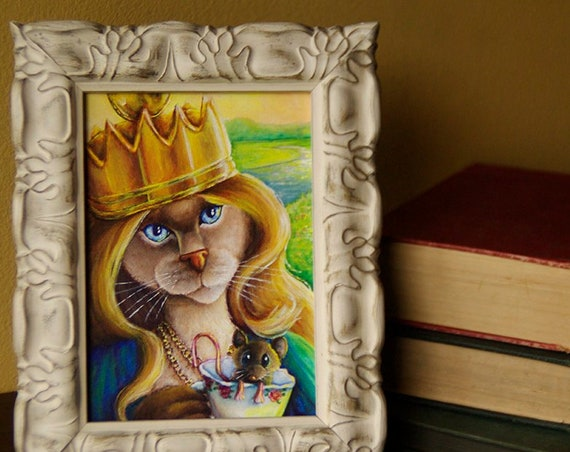 ORIGINAL Queen Alice in Wonderland Cat Acrylic Painting 5x7