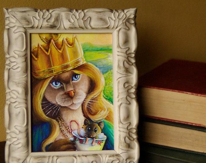 ORIGINAL Queen Alice in Wonderland Cat Acrylic Painting 5x7