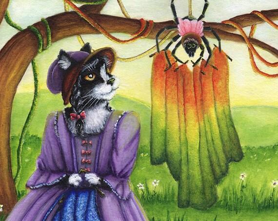 Miss Muffet Cat Art, Nursery Rhyme, Spider Tuffet Knitting, 8x10 Art Print CLEARANCE