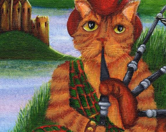 Cat Playing Bagpipes, Scottish Orange Tabby Cat in Kilt, 8x10 Fine Art Print