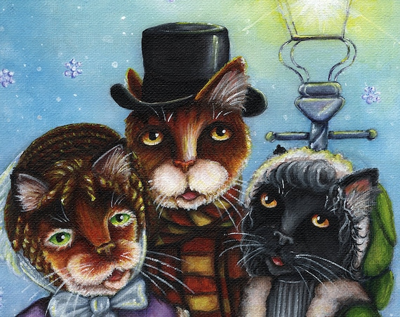 Victorian Cat Carolers Christmas 5x7 Fine Art Print CLEARANCE