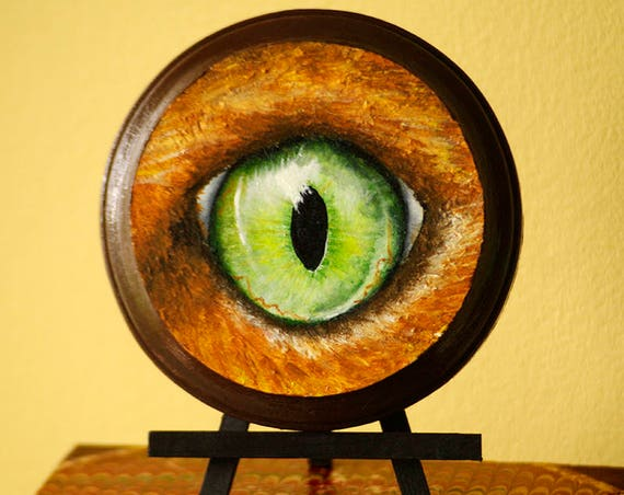 ORIGINAL PAINTING, Green Eye of Ginger Orange Cat, Acrylics on Miniature Wood Plaque