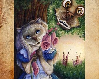 Alice and Cheshire Dog 11x14 Fine Art Print