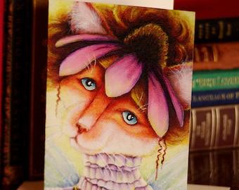 Flower Cat Card, Coneflower Fairy Cat Fantasy Art, 5x7 Blank Greeting Card