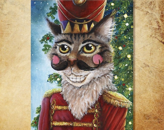 Cat Art Nutcracker Prince Grey Tabby Christmas Holiday 5x7 Fine Art Print