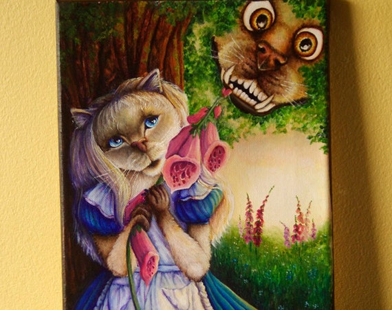 Alice Cat and Cheshire Dog Original Acrylic Painting