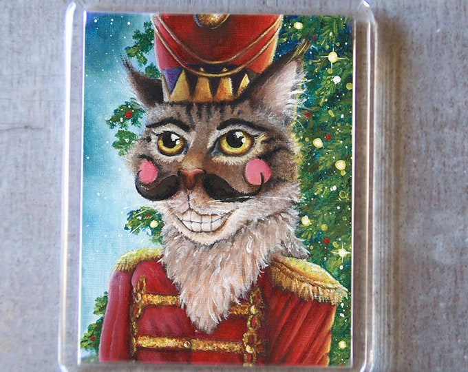 Christmas Nutcracker Prince Cat Fridge Magnet