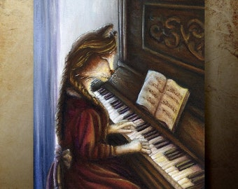 Beth March Cat Playing Piano, Little Women Fine Art Reproduction Print