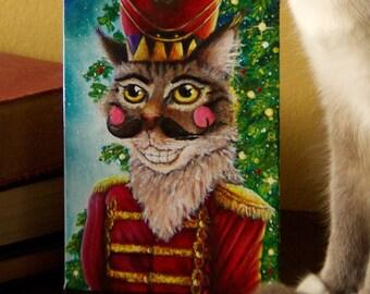 Nutcracker Prince Maine Coon Cat Original Acrylic Painting