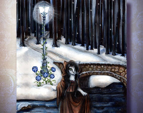 Fantasy Cat Art Winter in the Woods Bridge Lamppost 8x10 Fine Art Print