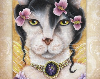 Begonia Fairy Cat, White Cat, Flower Fantasy 8x10 Fine Art Print CLEARANCE