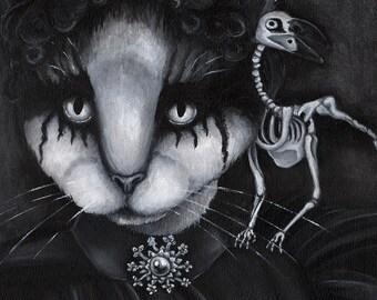 Creepy Cat and Raven Skeleton, Black and White 11x14 Fine Art Print