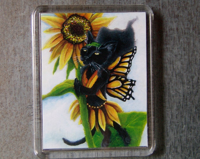 Sunflower Fairy Cat Magnet Black Cat Monarch Butterfly Wings Fantasy Art Fridge Magnet