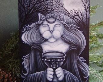 Druid Priestess Seer Cat, Original Acrylic Painting on Masonite