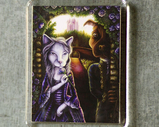 Beauty and Beast Magnet, Cat and Dog Fairy Tale, Art Fridge Magnet