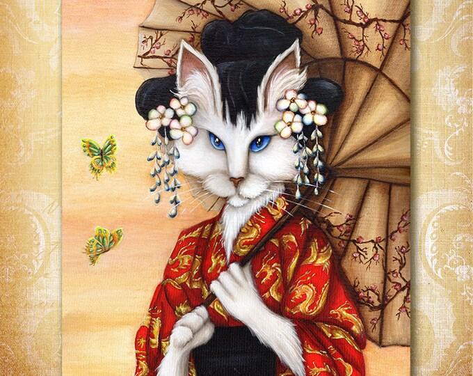 Cat Wearing Kimono 8x10 Fine Art Print