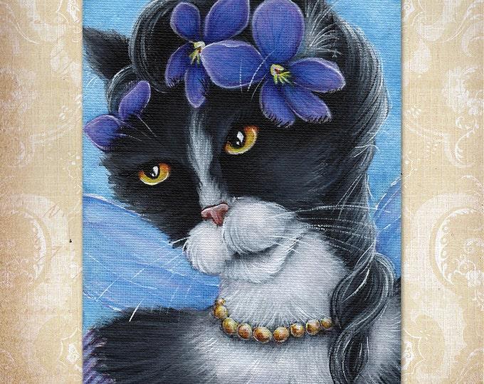 Violet Fairy Cat 5x7 Fine Art Print