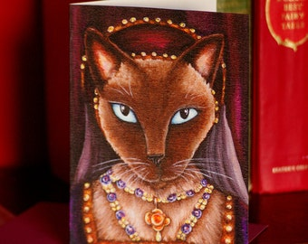 Catherine Howard Tudor Siamese Cat Greeting Card